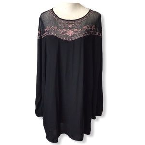 🏵️FOREVER 21 Black Boho Peasant Long Sleeve Dress